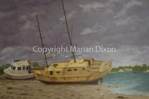 Boat stranded Rockingham Beach
