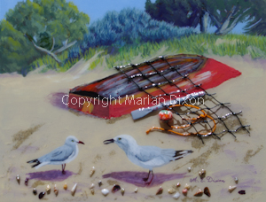 Silver gulls with old boat on beach.