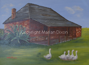 Historical cottage at Arthur River WA with geese
