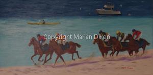 Horses racing on the beach at Rockingham WA