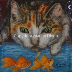 Cat gazing into pond at goldfish