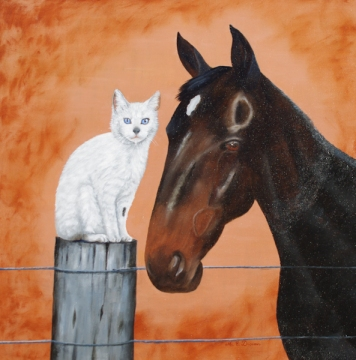White cat on fence post with horse head beside her