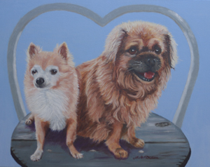 Two dogs sitting with heart shaped surrounding (Commission)