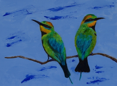 Two birds on a branch with a blue background