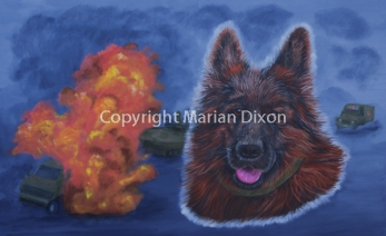 Head of German Shepherd with bombed military vehicles on fire